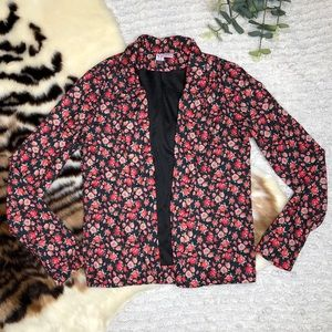 Love on a hanger open front floral blazer